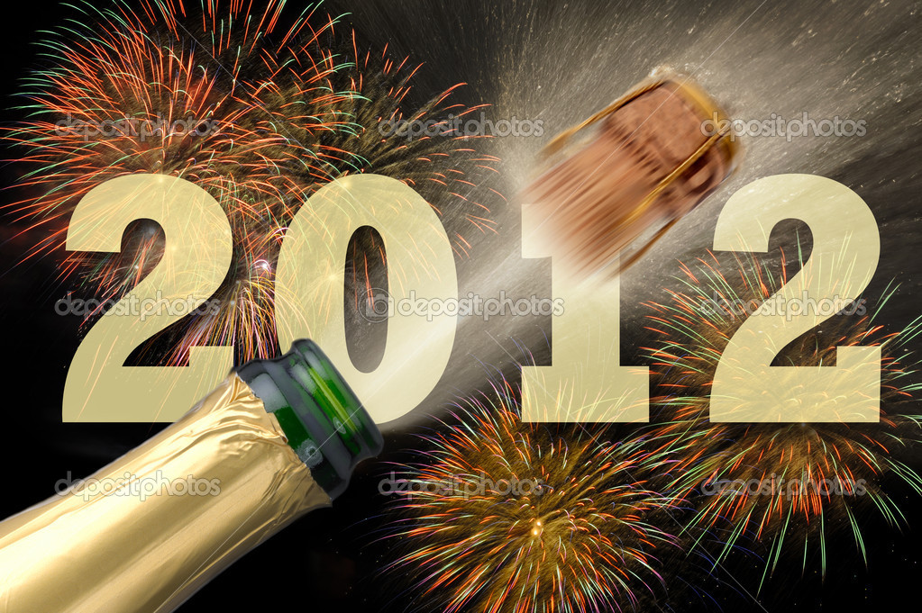 happy new year 2012 with fireworks and champagner — Foto Stock #4721638