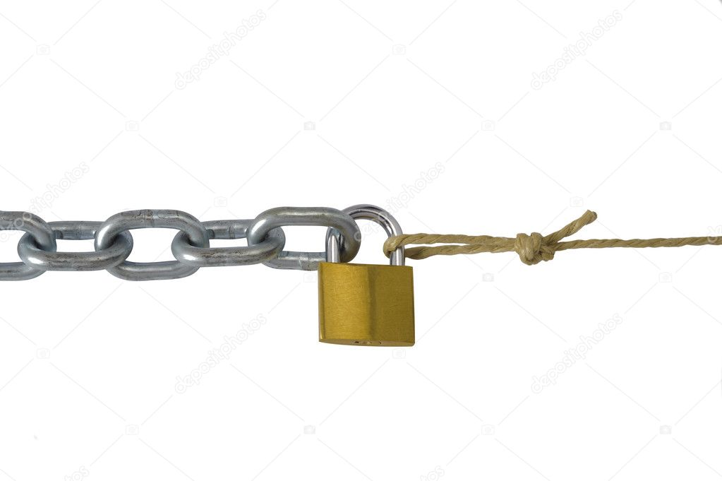 Chain and cord connection with padlock — Stock Photo #5168363