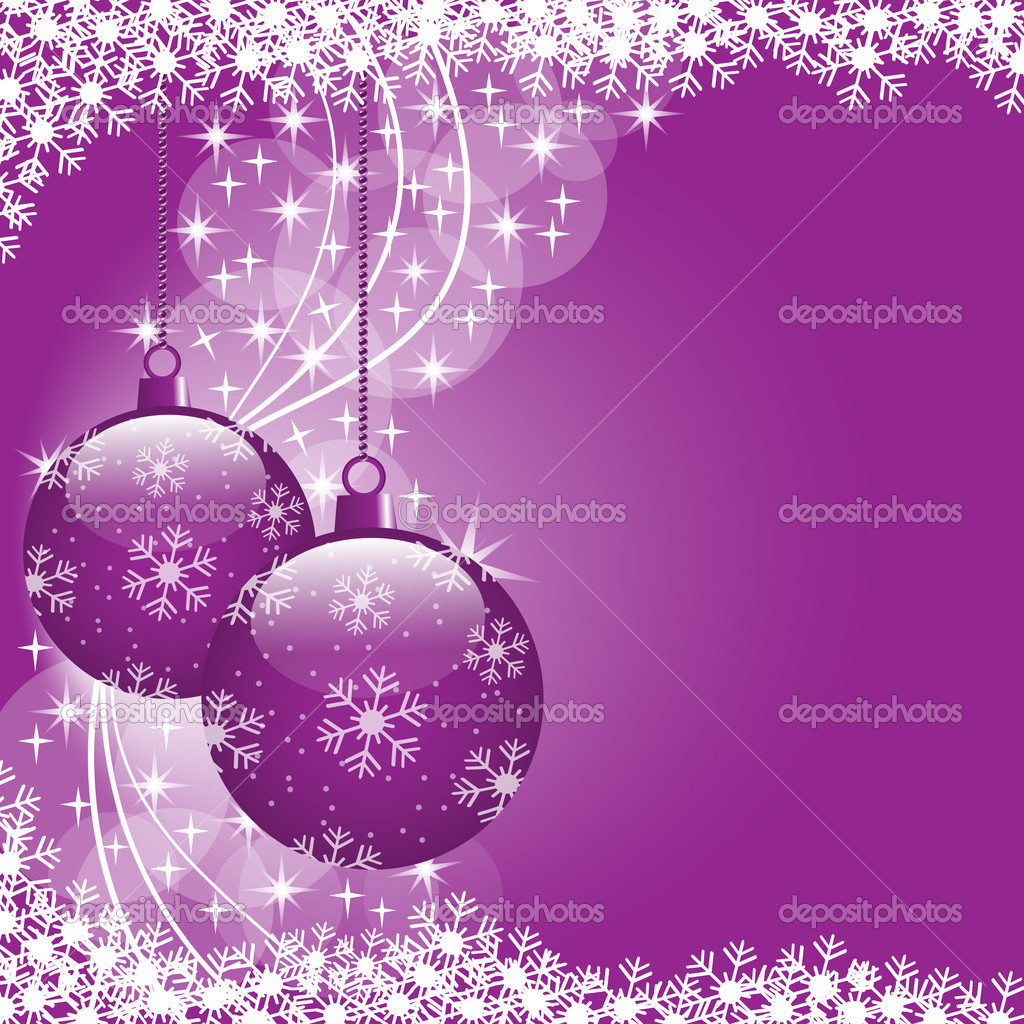Christmas scene with hanging ornamental purple xmas balls, snowflakes and stars. Copy space for text. — Stock Vector #4029890