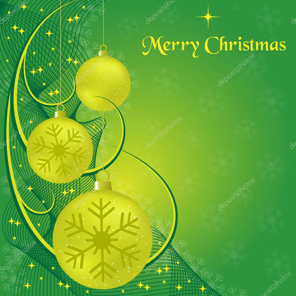 Xmas balls, wispy lines, stars and snowflakes on green background. Copy space for text. — Stock Vector #4085384