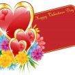 Royalty-Free Stock Vektorfiler: Valentine red heart and flowers