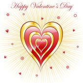 Valentinstag Herzen mit Sunburst-Hintergrund — Stockvektor