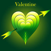 Valentine love hearts green — Stock Vector