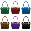 Stock Vector: Ladies fashion handbags set