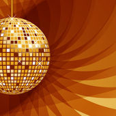 Disco ball gold on abstract background — Stock Vector