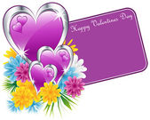 Valentine purple hearts and flowers — Stock Vector