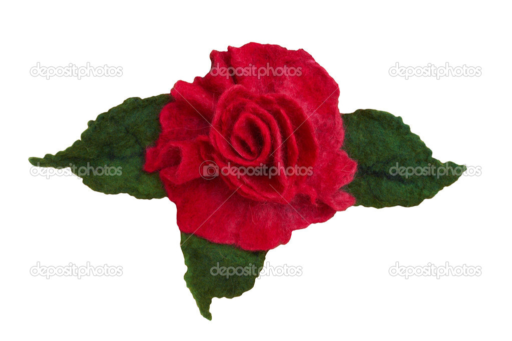 Artificial roses made of cloth. Isolated on white, with clipping path.  Stock Photo #4492013