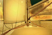Yacht Under Sail in sunset — Stock Photo