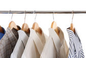 Man's skirts on hangers — Stock Photo