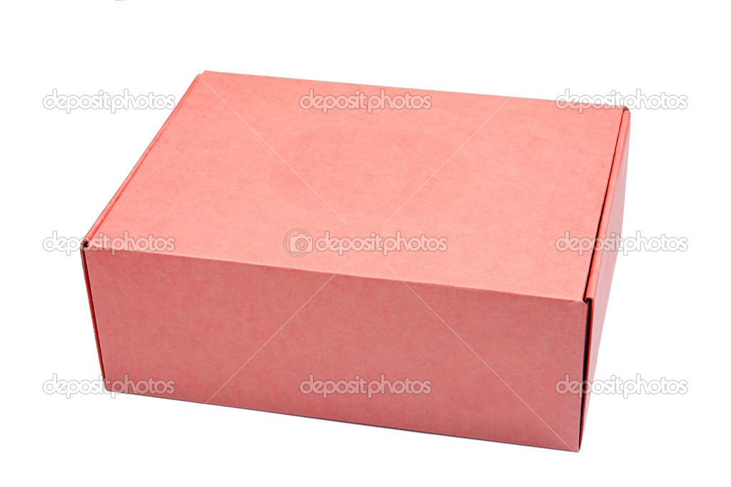 Red cardboard box isolated on white background — Stock Photo #4637674