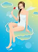 Pin op meisje eten hart vorm lolly — Stockvector