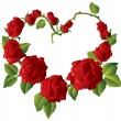 Heart shape Framework made of Beautiful red roses — 图库矢量图片