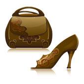 Handbag and shoe vector design — Stock Vector