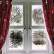 Window view to a snow scene — Stock Photo #4368583