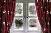 Window view to a snow scene — Stock Photo