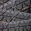 Stock Photo: Tyres stacked with focus depth