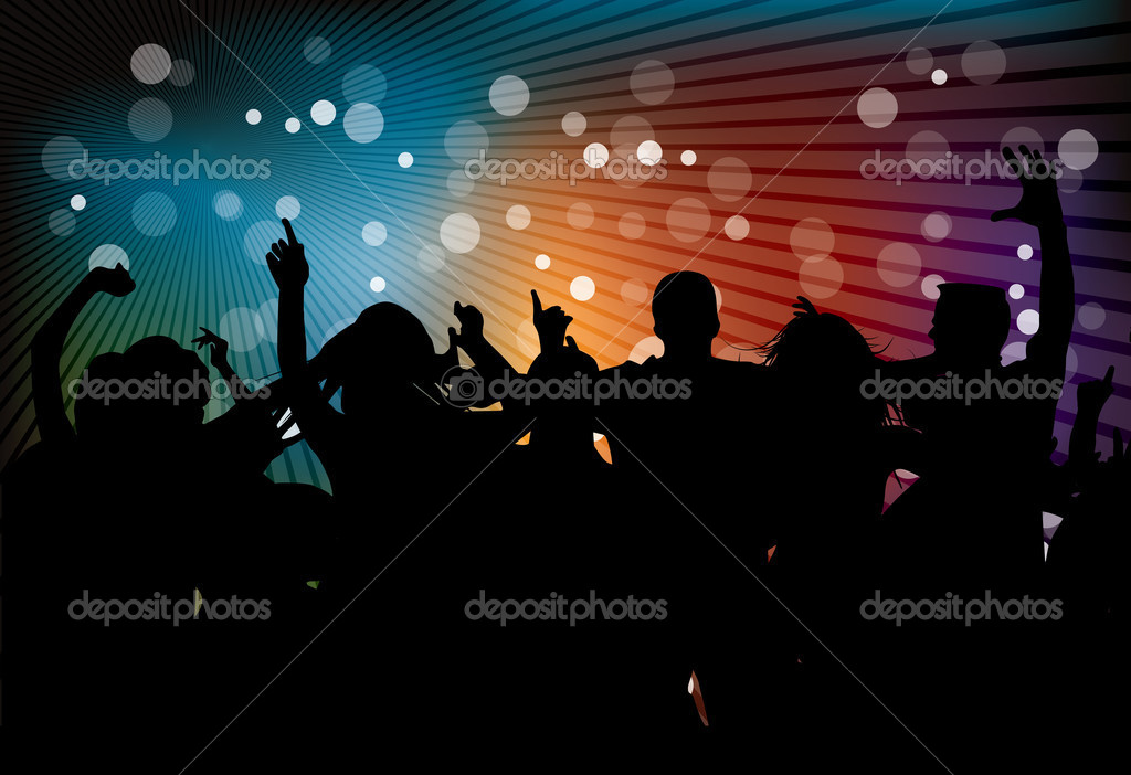 Club party with dancing in editable vector format — Stock Vector #4263553