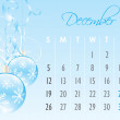December holiday calendar with Christmas decoration — 图库矢量图片