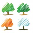 Stock Vector: Four seasonal tree drawing