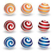Abstract vector spiral ball in 3d — Stock Vector