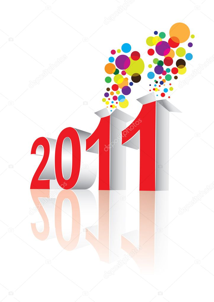 Happy New Year 2011 in editable vector format — Stock Vector #4382585