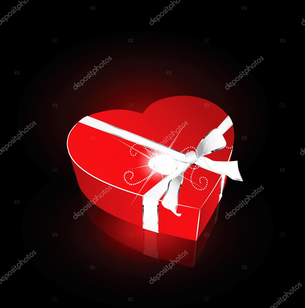 Red heart box for valentine greeting — Stock Vector #4638834