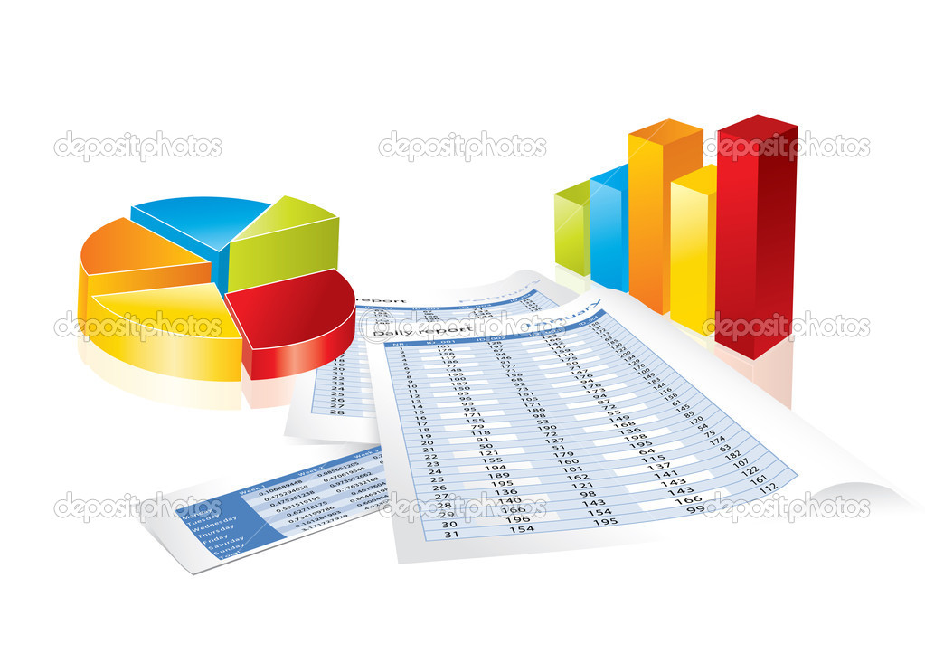 Business chart collection in editable vector format — Stock Vector #4874059