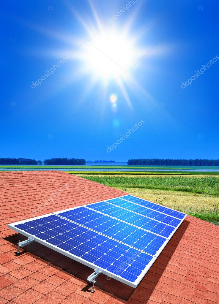 Solar-cell array on the roof of private home — Stock Photo #3951141