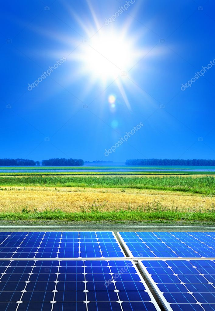Solar cell array in the field, renewable energy — Stock Photo #3968937
