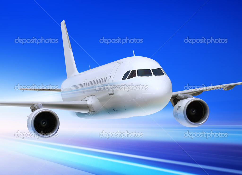 Passenger plane is accelerated from an airport runway — Stock Photo #4280667