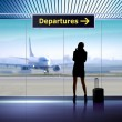 Info signage in airport — Stock Photo