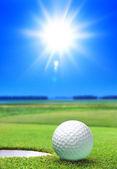 Golfový míček na zeleném hřišti — Stock fotografie