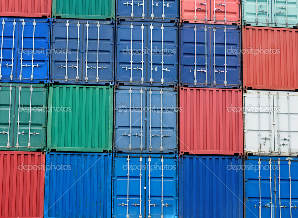 Multi-colored freight shipping containers at the docks  — Stock Photo #4469257