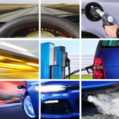 Collage of transport attributes — Stock Photo