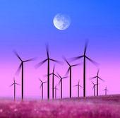 Silhouette of wind turbines — Stock Photo