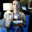 Woman drinking tea in restaurant — Stock Photo