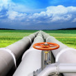 Gas-transmission pipeline — Stockfoto