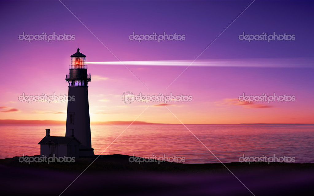 Lighthouse searchlight beam through marine air at night  Stock Photo #4979608