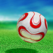 Soccer ball with path — ストック写真