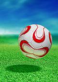 Pallone da calcio con percorso — Foto Stock
