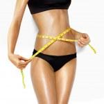mulher linda perfeita forma de medição — Foto Stock
