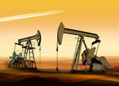 Oil pumps in desert — Stock Photo