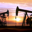 Oil pumps on sunset - Stock Photo