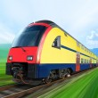 Super streamlined train on rail — Stock Photo
