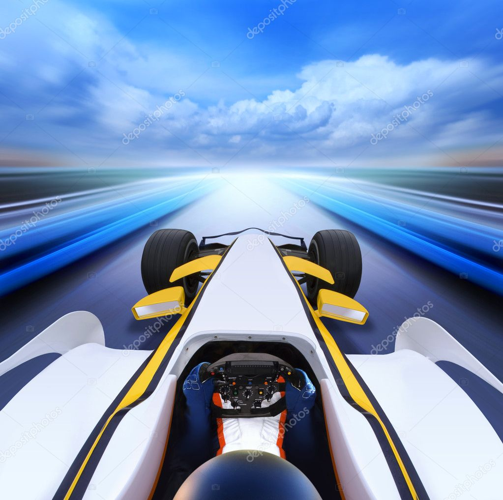 Driving at high speed in empty road - motion blur — Stock Photo #5375099