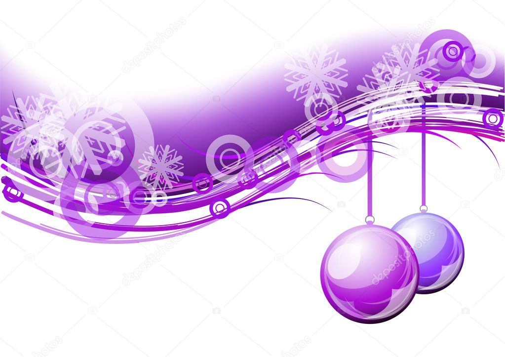 Purple christmas background with balls — Grafika wektorowa #4062385