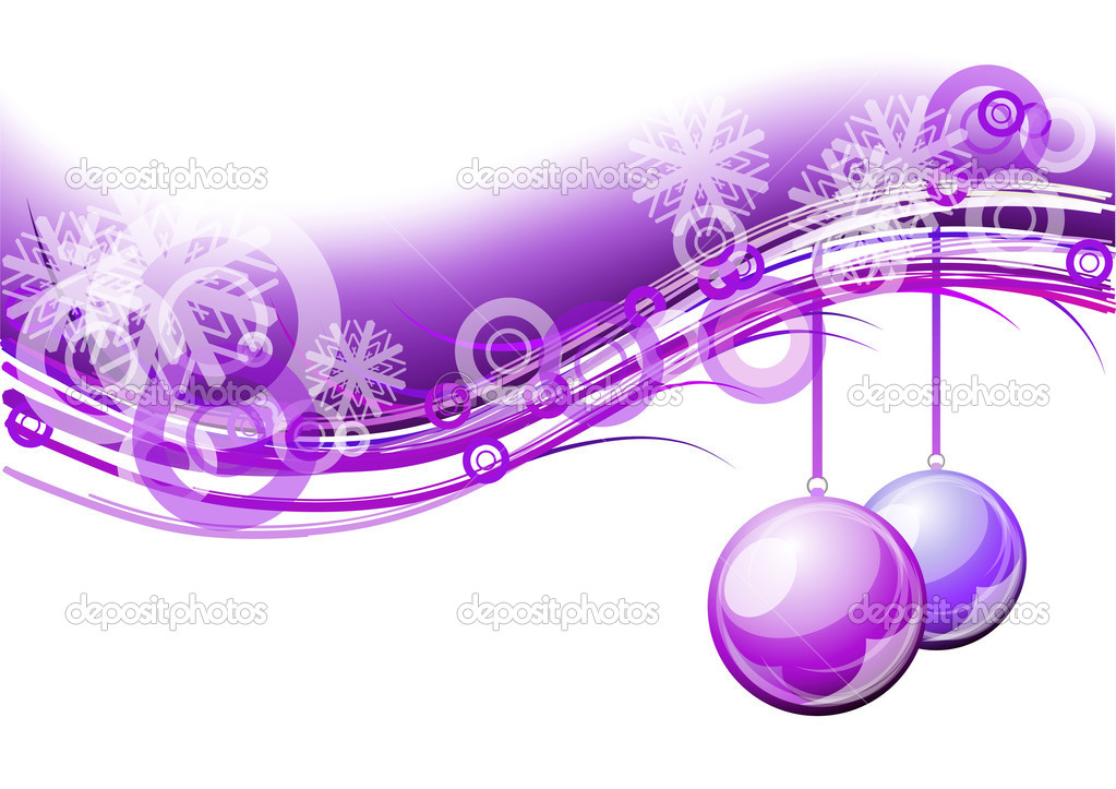 Purple christmas background with balls — Stok Vektör #4062385