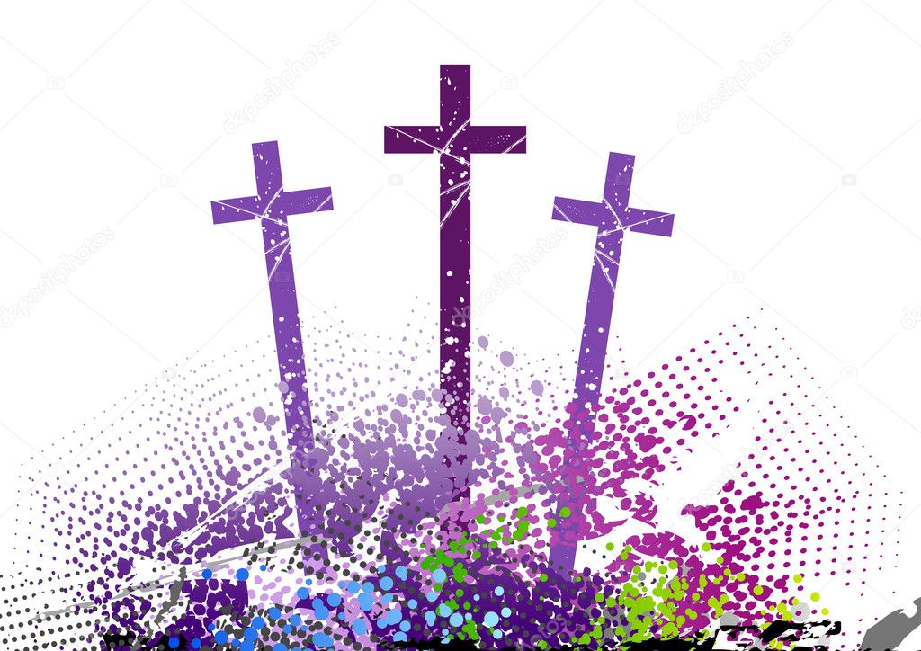 Three cross on the color hill — Stock Vector #4275831