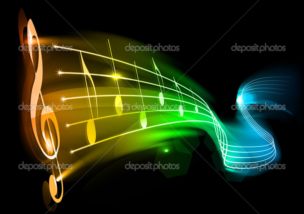 Music background - note on the black — Stock Vector #4689417