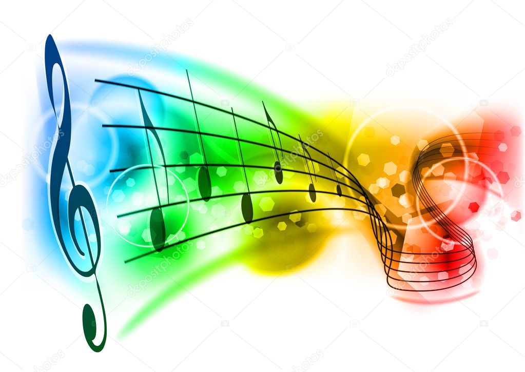 Music background with color note — Stockvektor #4775846